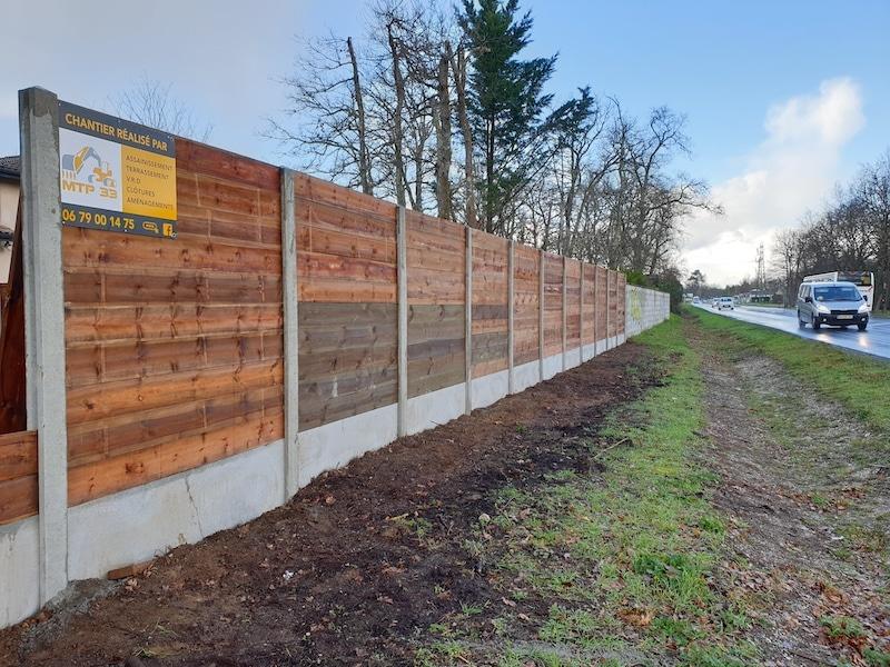 Cloture bois réalisée par MTP33 à Lanton